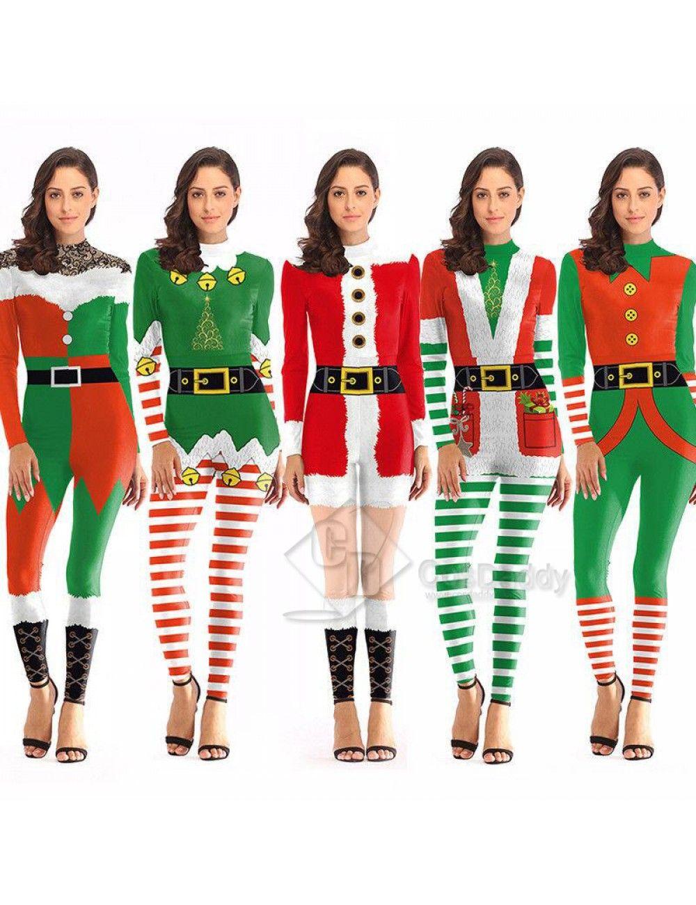 details for popular brand kid 3D Graphic Print Women Jumpsuit Christmas Bodysuit Santa ...