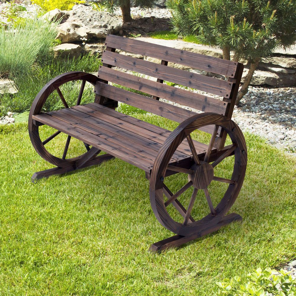 Rustic Wooden Garden Bench 2 Seater Wagon Cart Wheel Outdoor Patio Park  Porch