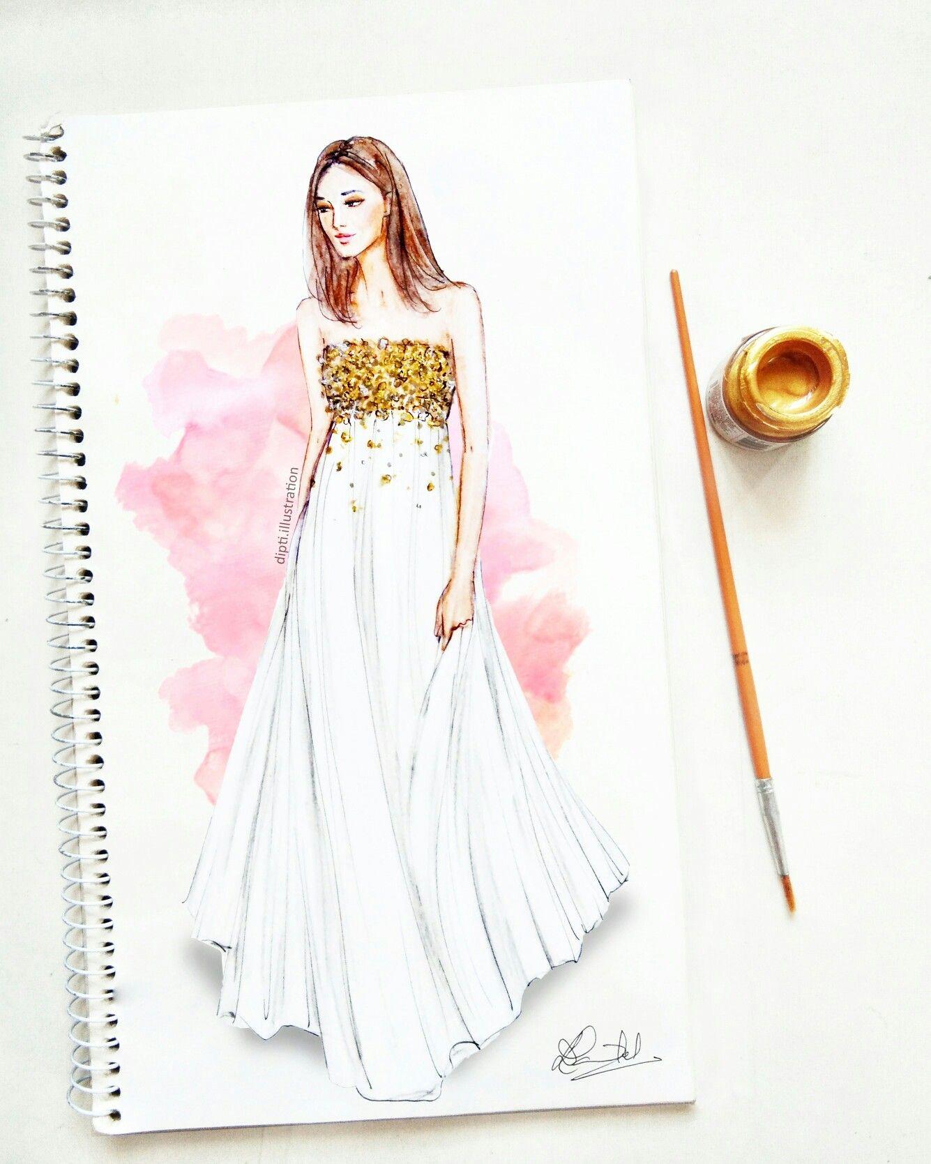 Art Fashionillustration Sketch Oscardelarenta Prefall Golden Tullegown Dress Design Drawing Fashion Illustration Dresses Fashion Drawing Dresses
