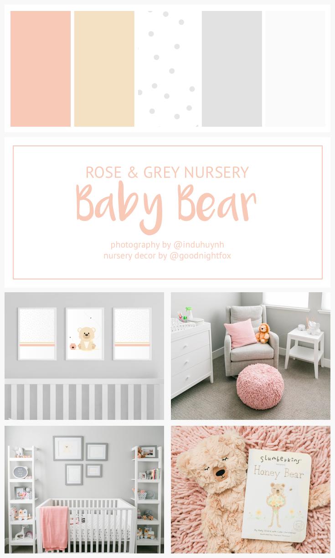 Pink Grey Nursery Baby Girl Nursery Baby Bear Nursery Nursery