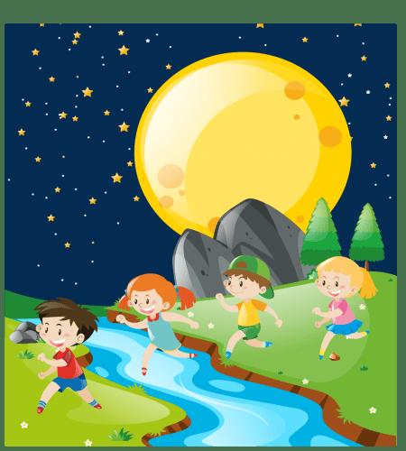 تصميم اطفال يلعبون حول النهر وتحت القمر رائعه ملف مفتوح Graphic Design Logo Kids Playing Vector Free