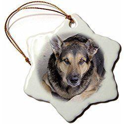 German Shepherd Snowflake Christmas Ornament Porcelain 3 Inch Holiday Shapes German Shepherd Snowflake Ornaments
