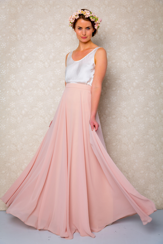 ViCTOR Bridesmaid - full length blush pink skirt with matt satin ...