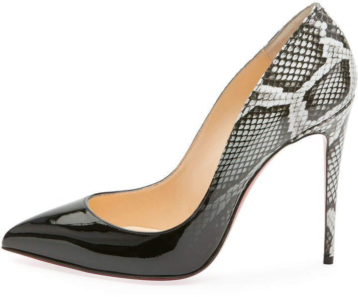 ed9553ebf5ec Christian Louboutin Pigalle Follies Ombre Snake-Print Red Sole Pump ...