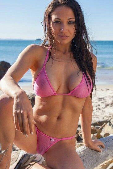 Seethrough bikini bottom on public beach 4