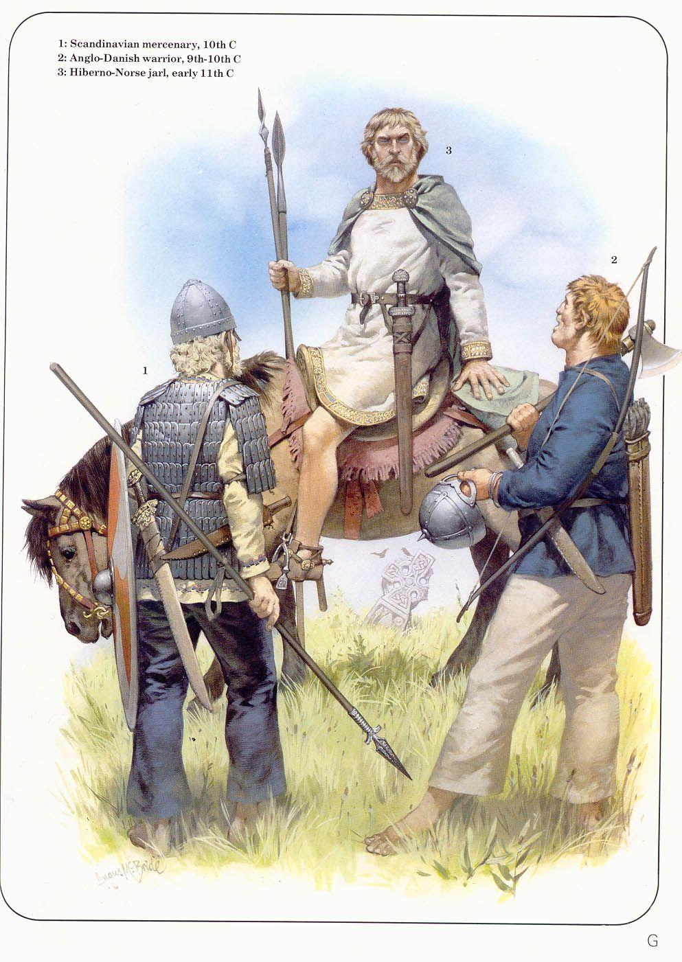 1 Scandinavian Mercenary 10th Century 2 Anglo Danish Warrior 9th 10th Century 3 Hiberno Norse J Historical Warriors Warriors Illustration Ancient Warfare