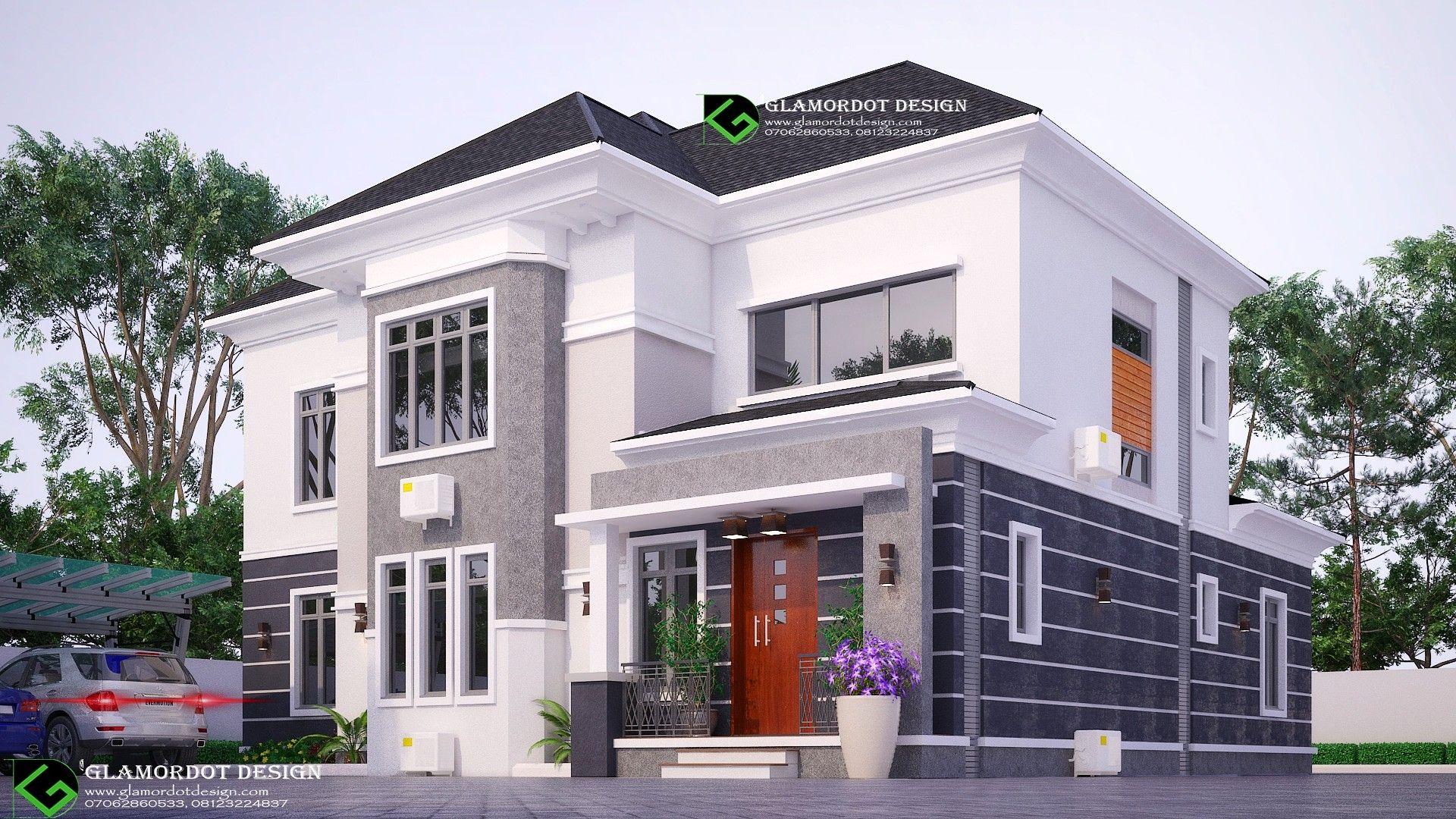 Architectural Design Of 6 Bedroom Duplex Nigeria Duplex Architect Houseplan Luxury Beautiful House Plans Duplex House Design House Construction Plan