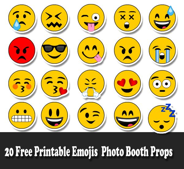 graphic relating to Free Printable Emojis known as 20 Cost-free Printable Emojis Picture Booth Props Emoji
