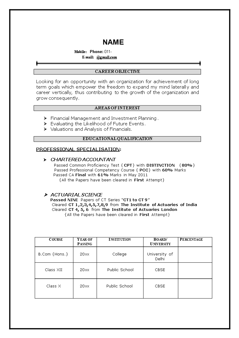 how to prepare resume for freshers