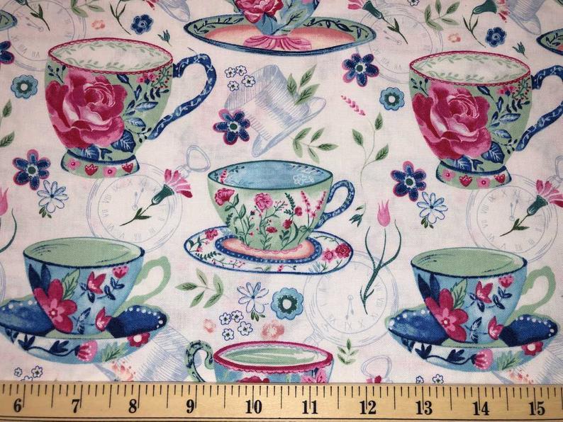 Tea Cups Fabric Teacups Fabric Floral Tea Cup Fabric Cups Of Etsy Floral Fabric Fabric Mad Hatter