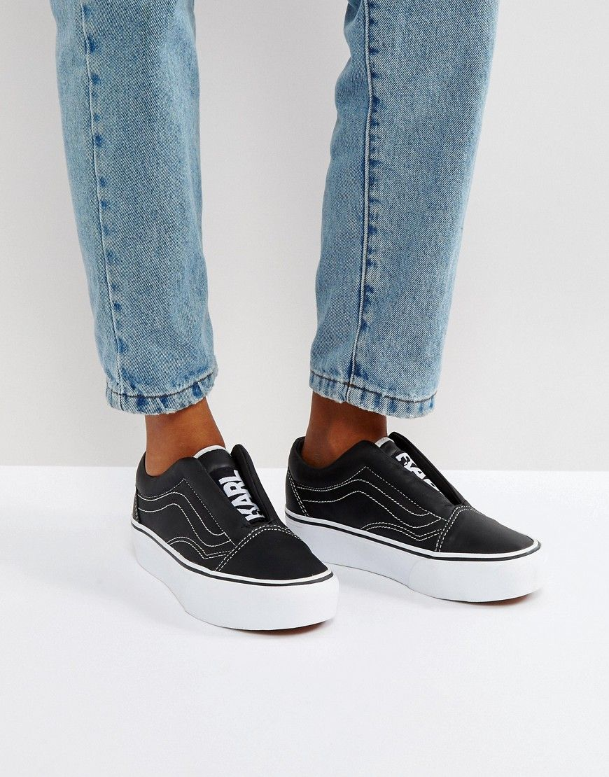 0c248a89c Vans X Karl Lagerfeld Laceless Old Skool Platform Trainers - Black   Trainers by Vans