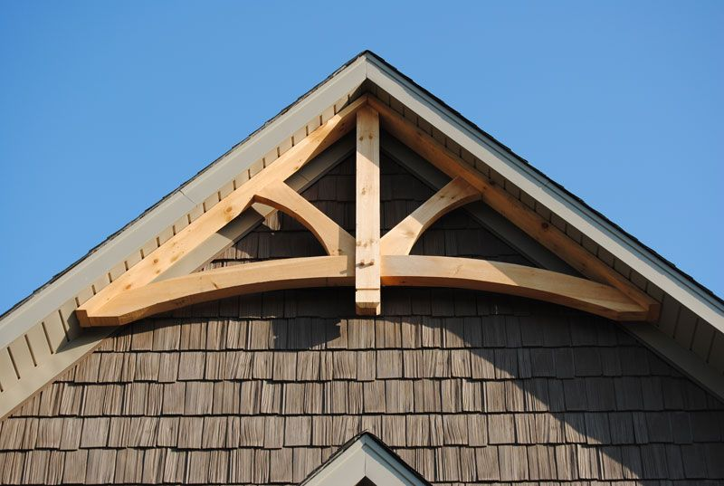Gable trim curved tie king post gable truss gable trim for Cedar gable brackets