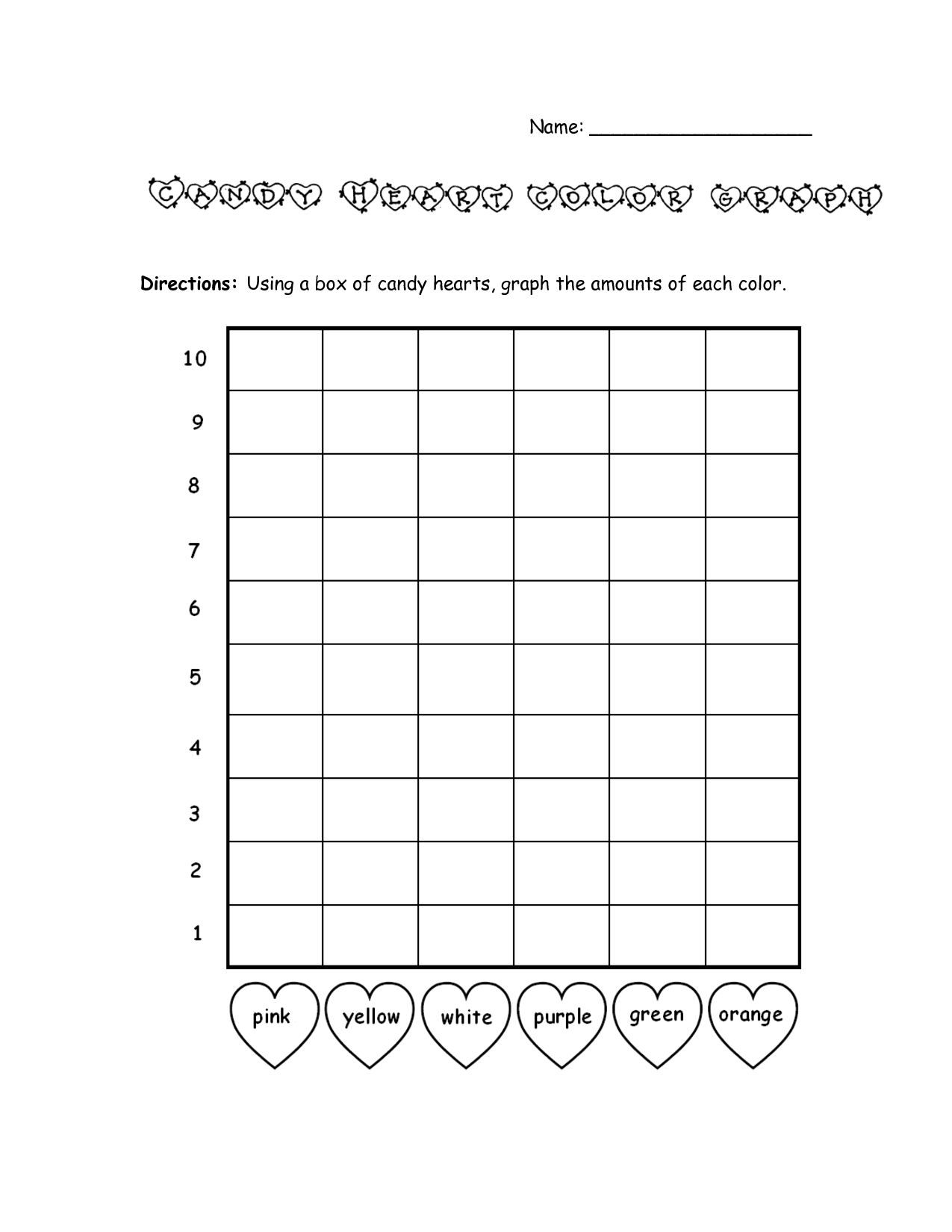 bar graph template valentines day | candy heart color graph