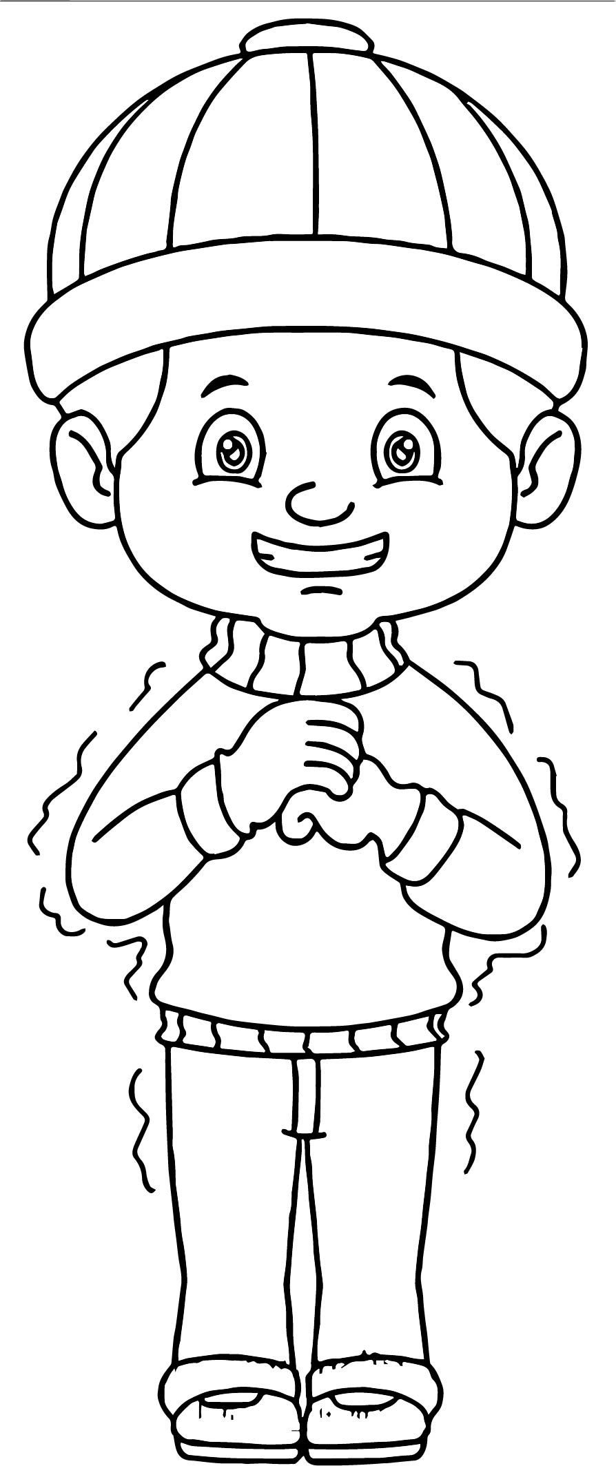 Winter Boy Coloring Pages Concept