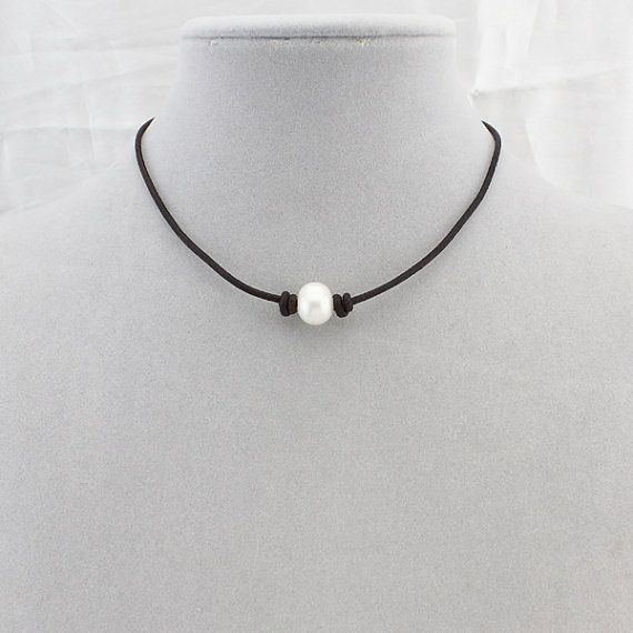 Pearl choker,high luster pearl leather choker,real pearl necklace, single pearl…