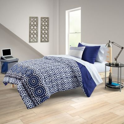 Delia 8 Piece Full Full Xl Comforter Set In Indigo Products