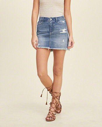 f3ab94f5c Minifalda de denim de tiro alto | Jeans | Falda tiro alto, Tiro alto ...