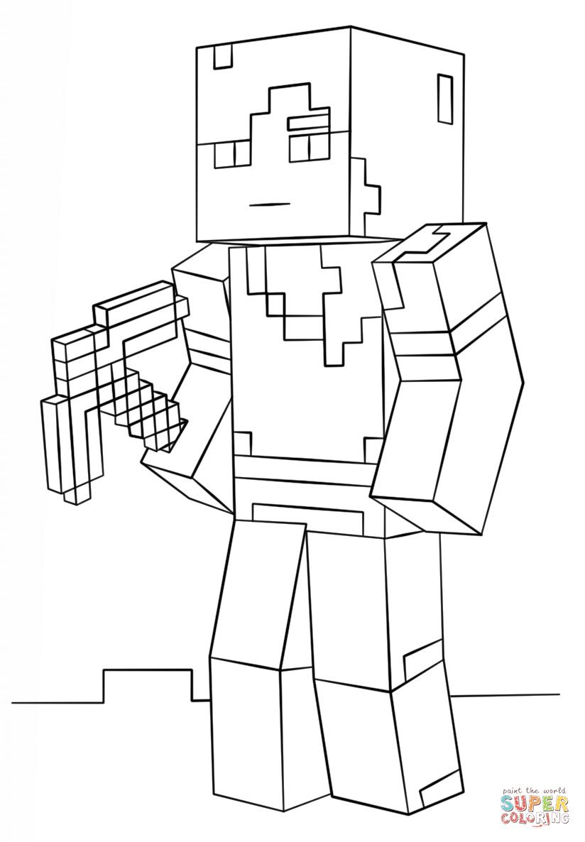 Minecraft Printable Coloring Pages Minecraft Alex Coloring Page In 2020 Minecraft Printables Minecraft Coloring Pages People Coloring Pages