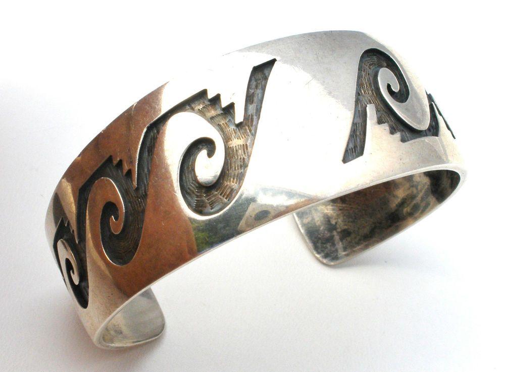 Terry Wadsworth Sterling Silver Overlay Cuff Bracelet Zuni Water Symbols Vintage #TerryWadsworth #Cuff