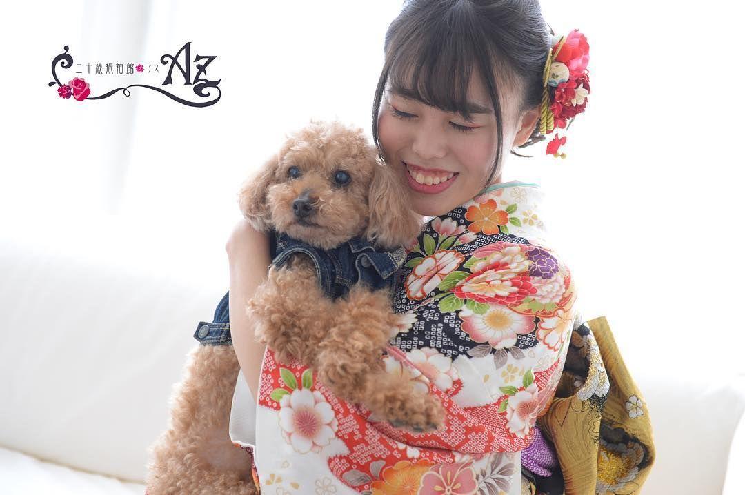 こんばんは 二十歳振袖館azマルイファミリー溝口店 です わんちゃんも大事な家族 ペット撮影が無料で出来るのもazの魅力です 二十歳振袖館az 振袖 成人式 川崎 Az Kimono Az Wamodern Az M Teddy Teddy Bear Animals