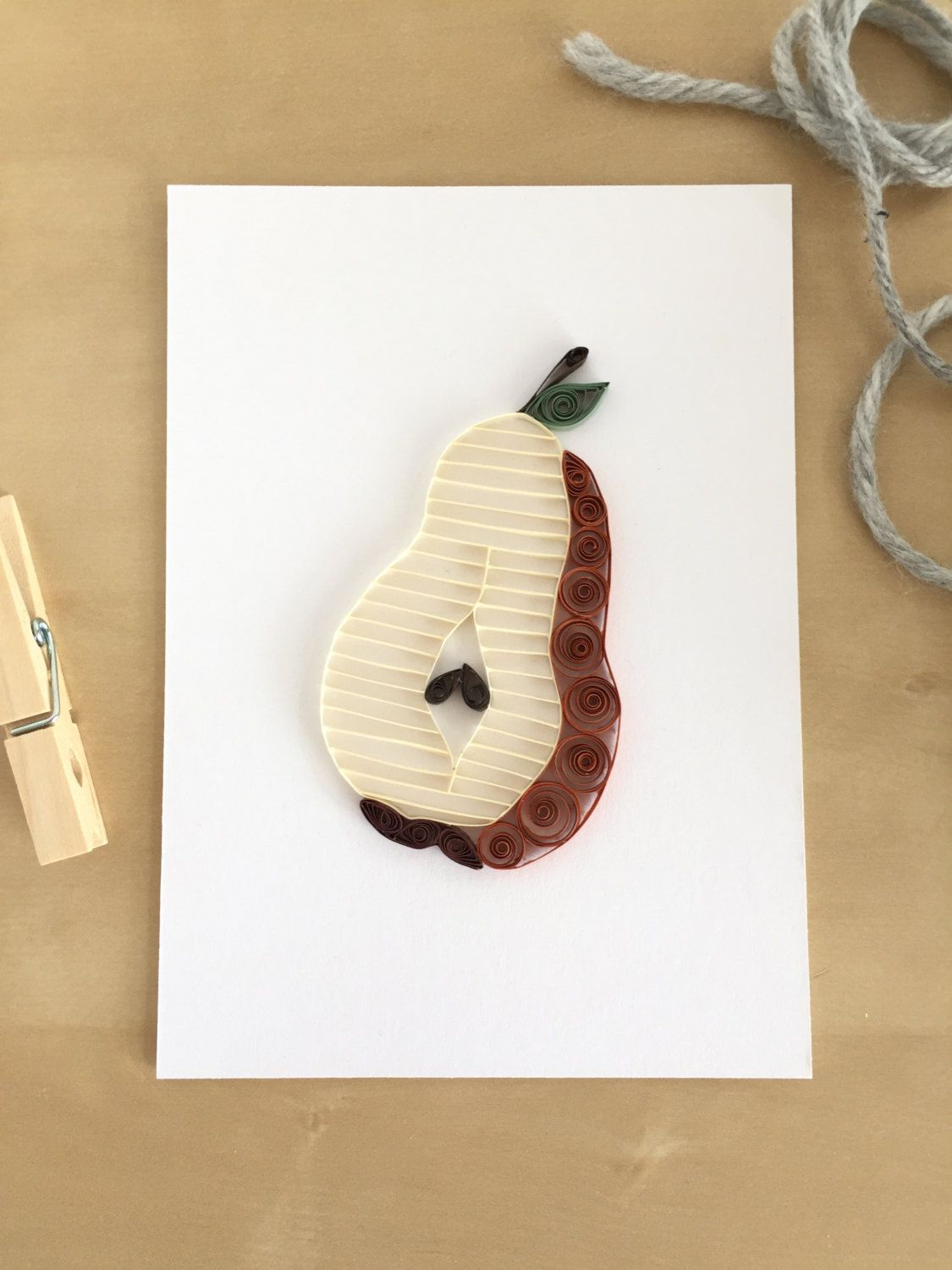 New To Thepaperycraftery On Etsy Quilling Paper Bosc Pear Home Decor Brown Wall Country Kitchen Art Rustic Decoration Foo Gift