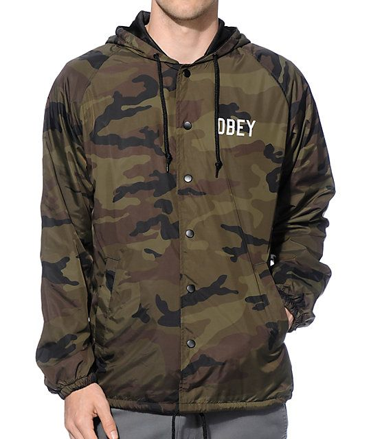 Obey Corner Block Camo Hooded Coach Jacket | Camo print, Camo and ...