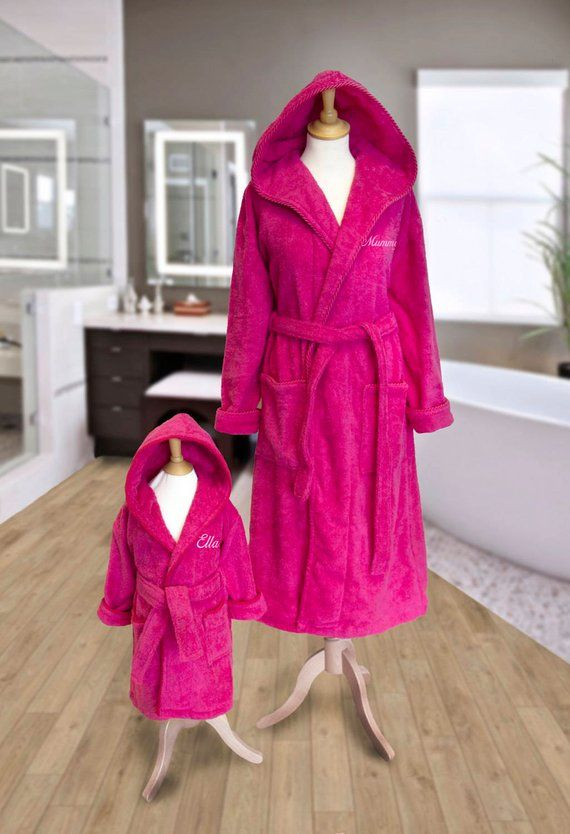2cdbeaa77d Personalised MOTHER and DAUGHTER Matching Hooded Towelling Dressing Gowns  Bathrobes Hot PINK