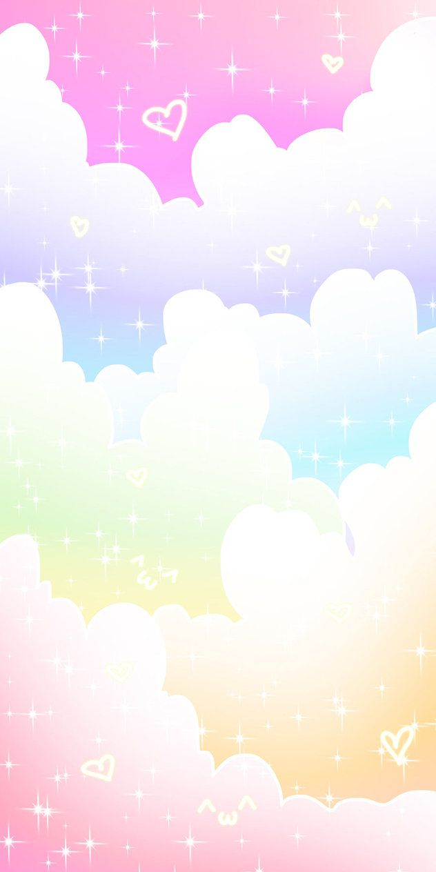 Pastel magic clouds magical and fanciful unicorns - Rainbow background pastel ...