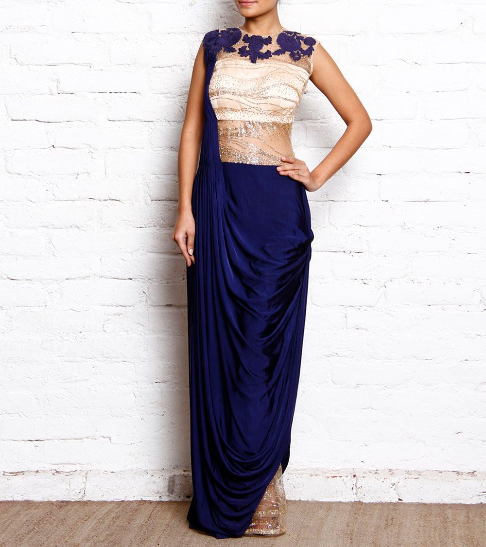 Royal #Blue Sequined #Lycra Cowled #Saree #Gown by #Reeti #Arneja at ...
