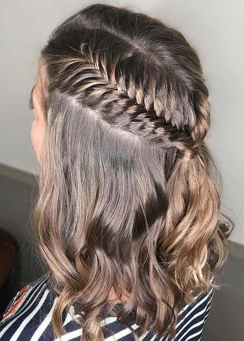 Half Up Half Down Fishtail Braids Makeup Braids For Short Hair Easy Braids Braided Hairstyles Easy