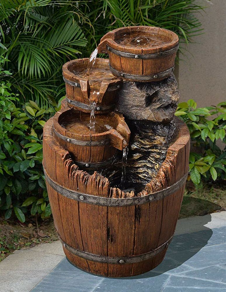 Outdoor Tiered Fountain Barrel Wood 4 Tier Waterfall Electric