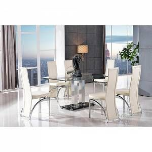 Biddulph Steel and Glass Dining Set with 4 Chairs Metro Lane Colour (Chair): Ivory  - Ivory - Size: Small