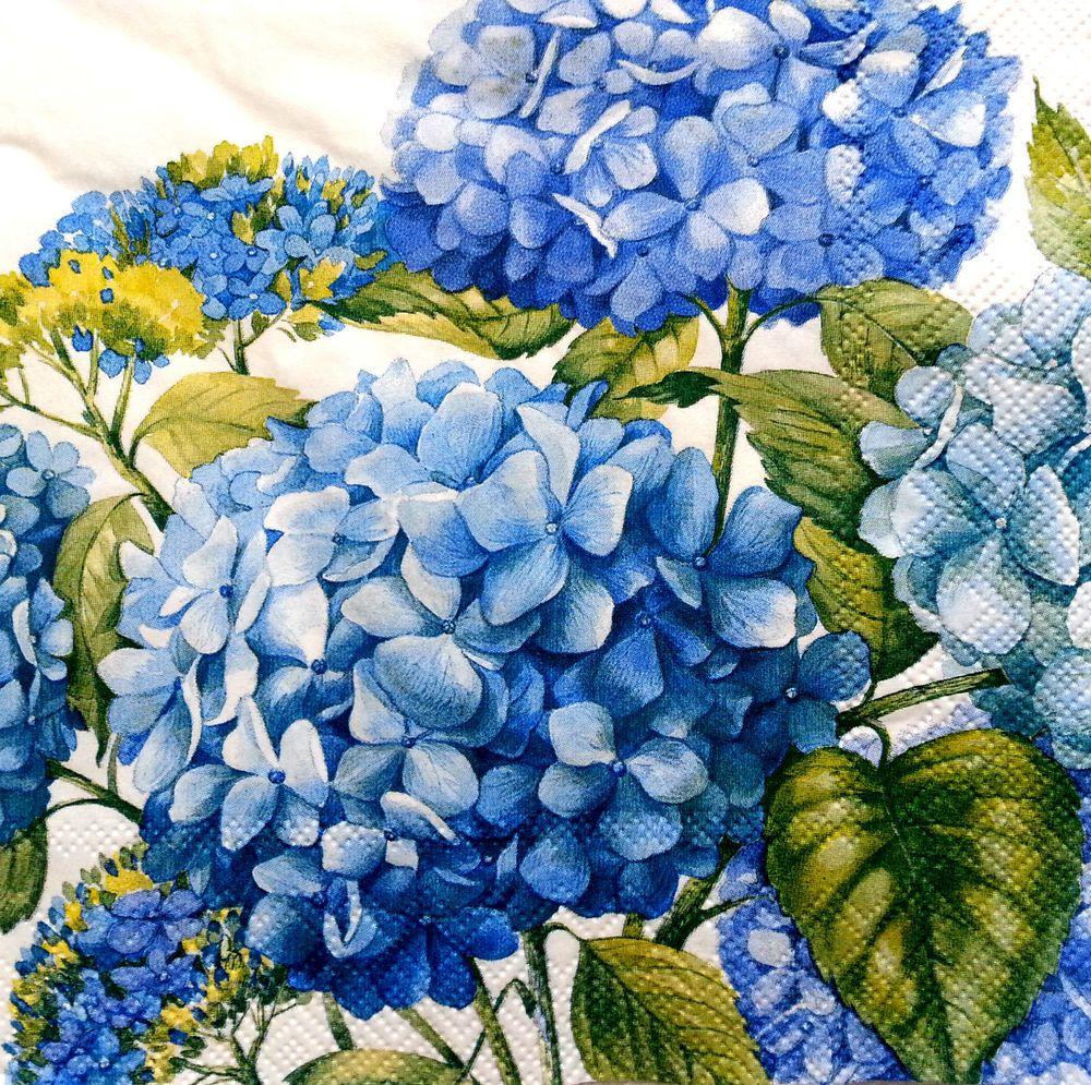Decoupage Party Craft //blue flowers 4 Vintage PAPER Table NAPKINS
