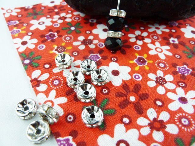 10 jolie perle rondelle intercalaire argenté strass en verre transparent taille 8mm : Perles en Métal par mixage-perles