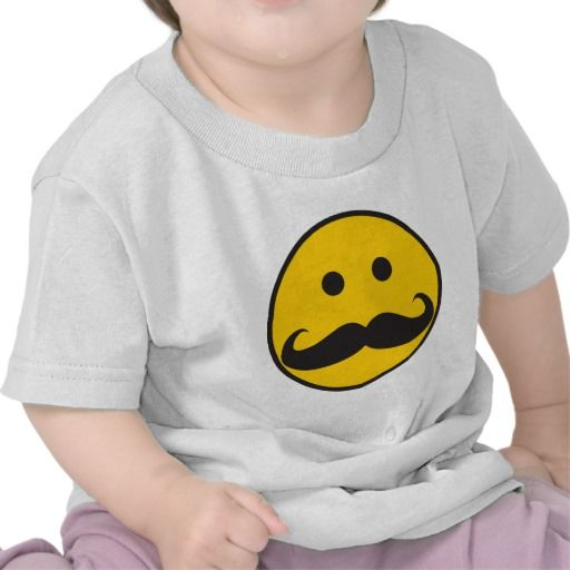 Smiley Face Mustache Baby or kids TShirt