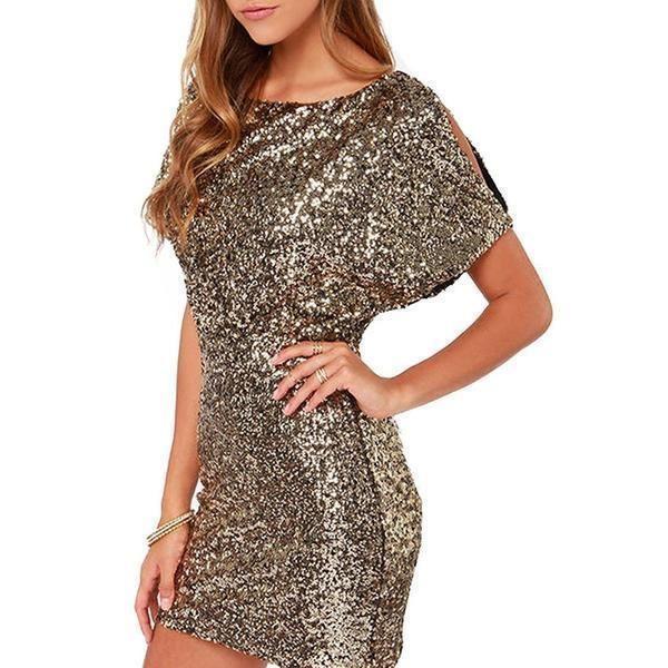 Sequin Sexy Mini Dress For Women Ladies Female Long Sleeve