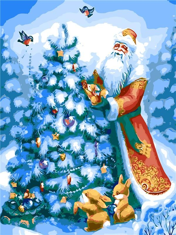 Santa Claus And Christmas Tree Easy Diy Paint By Numbers Kits