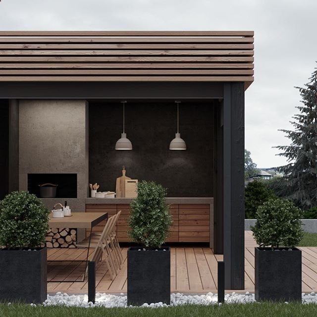 Minimalist Style Backyard Patio Exterior And Furnishings Sun And Garden Backyard Backyards Backyardid Patio Design Outdoor Kitchen Design Outdoor Pergola