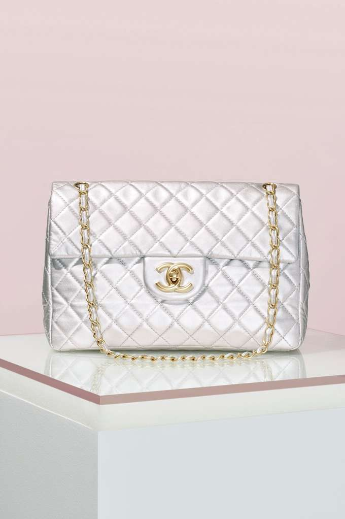 7b5cb1e364aa Vintage Chanel Silver Leather Jumbo Bag   Shop Vintage at Nasty Gal ...