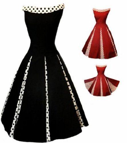 Fashion Bug Womens Plus Size 50s #Rockabilly #Classy Black #Vintage Swing Evening Cocktail Party #Dress www.fashionbug.us