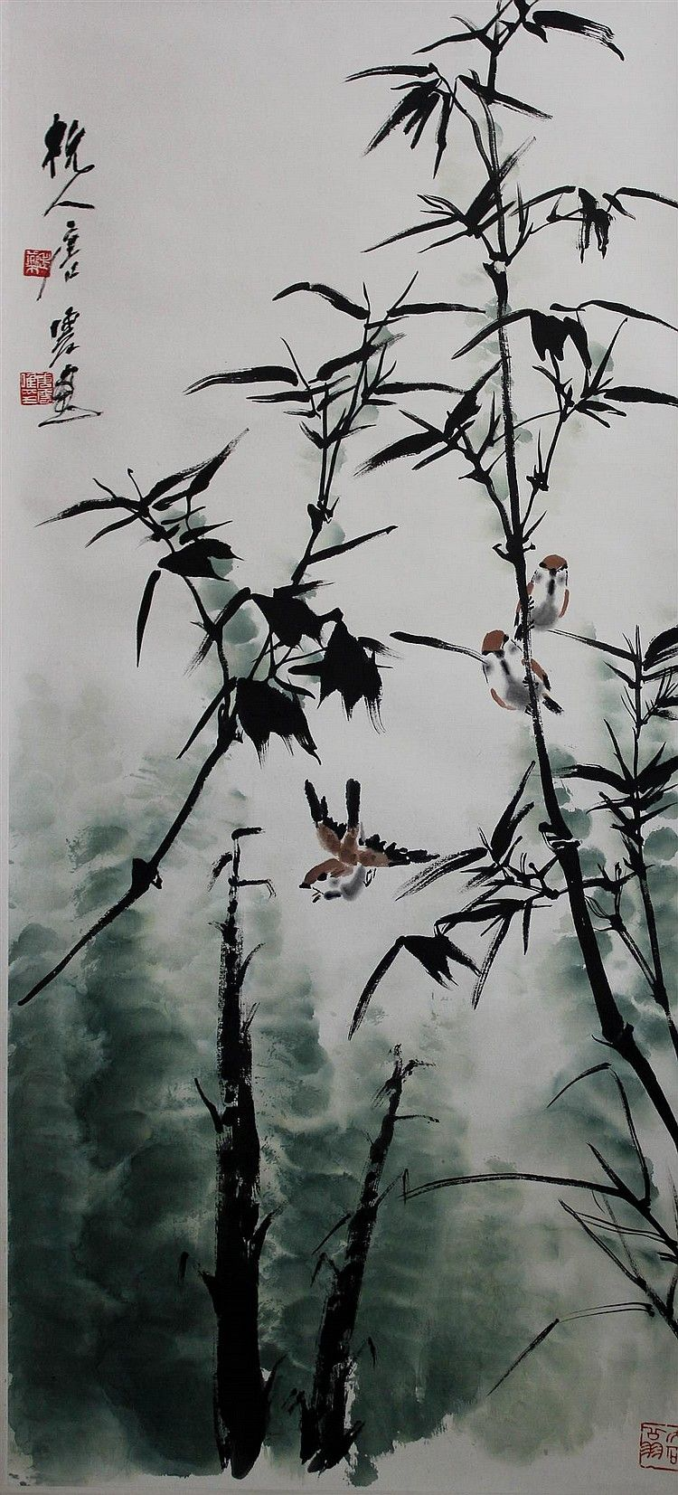 """TANG YUN (CHINESE, 1910-1993) BIRDS IN BAMBOO Ink and watercolor on silk hanging scroll: 38 x 17 1/2 in.Ink and watercolor on silk hanging scroll: 38 x 17 1/2 in.  Upper left in Chinese signed """"Hang Tang Yun"""" along with two seals, lower right seal 杭人唐雲畫/老藥/唐雲私印"""