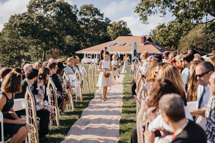 Here comes the bride | fabmood.com #wedding #backyardwedding #fallwedding #sunflowerthemed