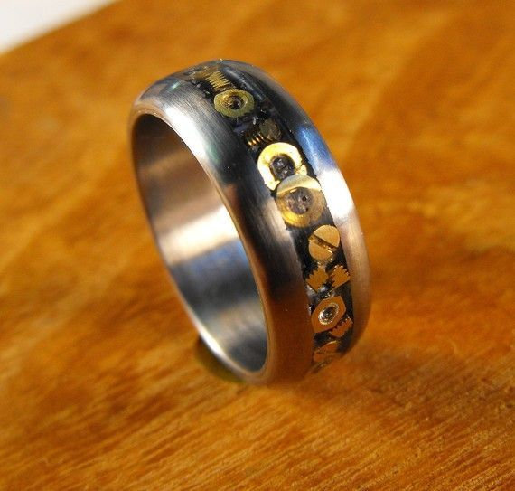 Anium Wedding Ring With Inlaid Hardware The Nuts And Bolts