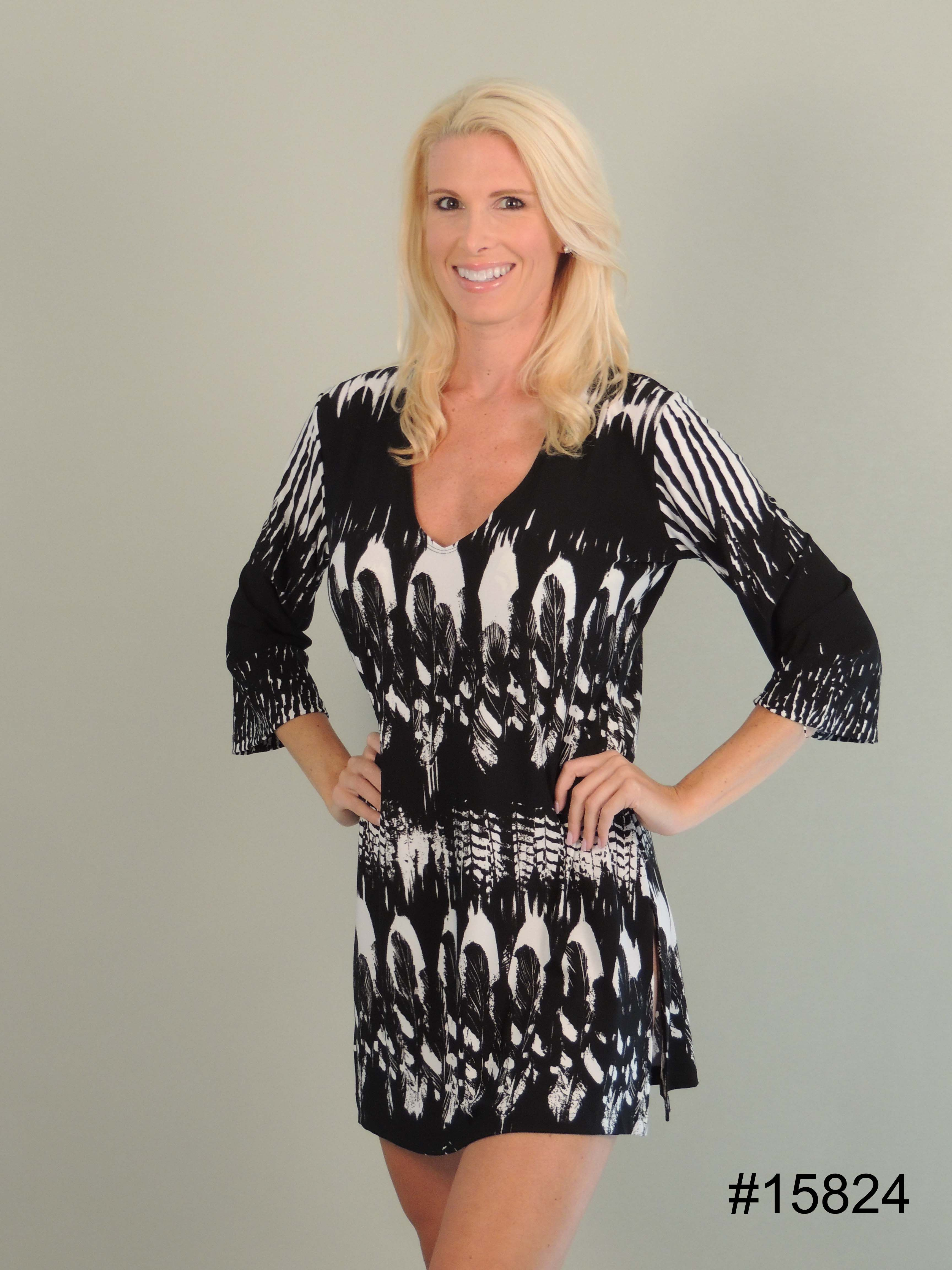 J Valdi Oil Print Tunic Cover Up Dress Color Black And White This