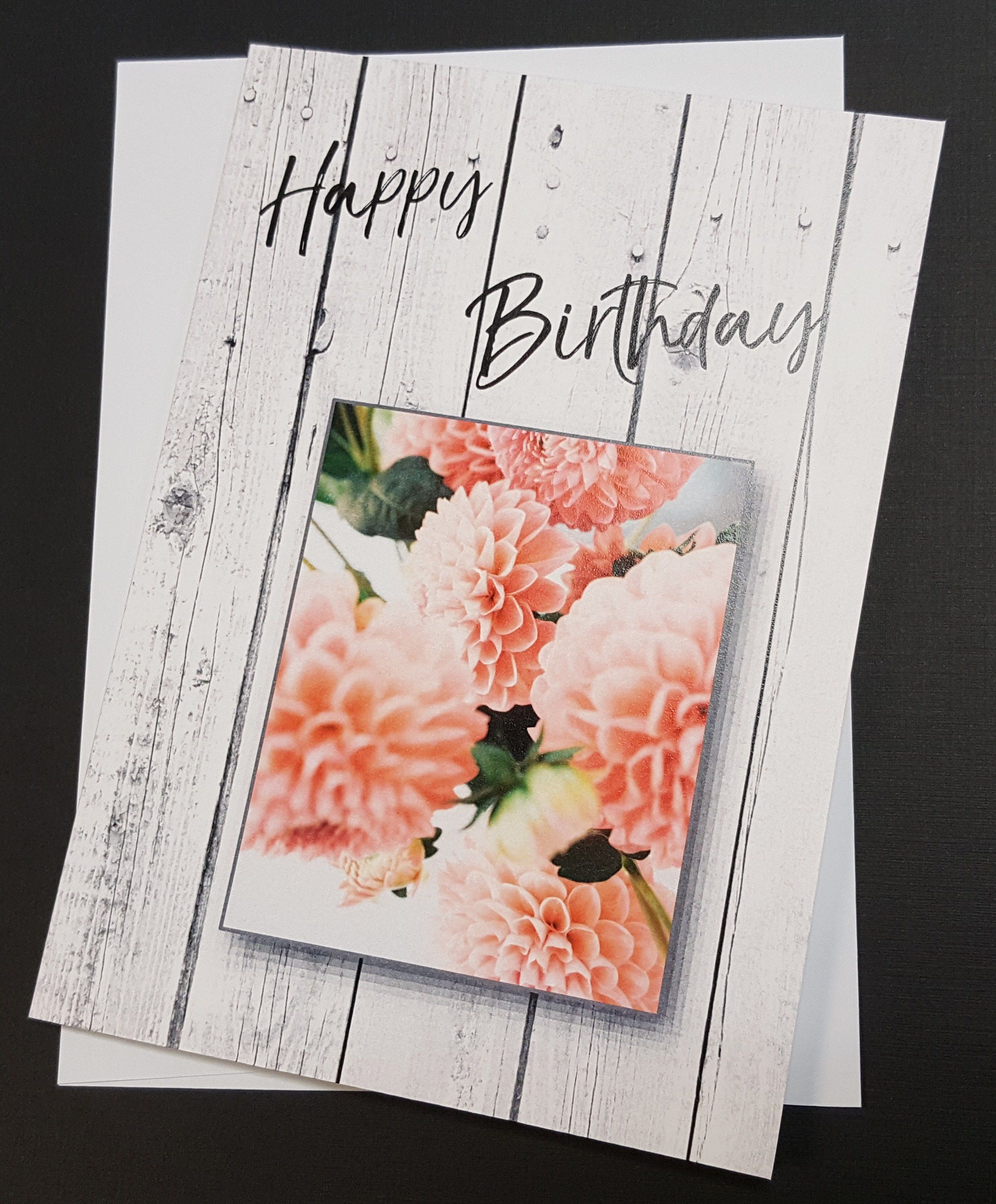 Happy Birthday Rustic Greeting Card White Wood Custom Cards