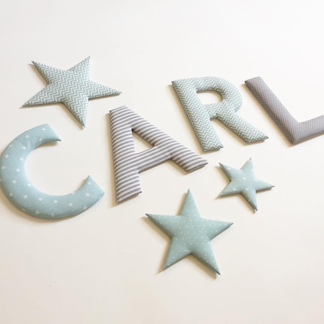 Stoffbuchstaben und Stoffsterne mint / grau #norabellahome ...