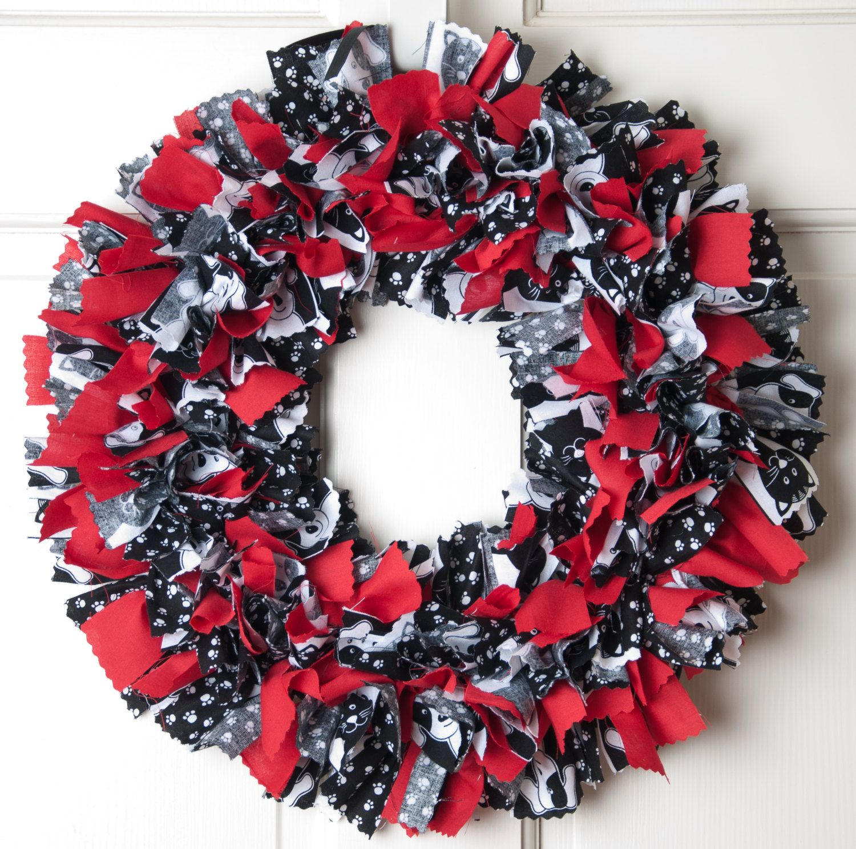 Black And White Rag Wreath