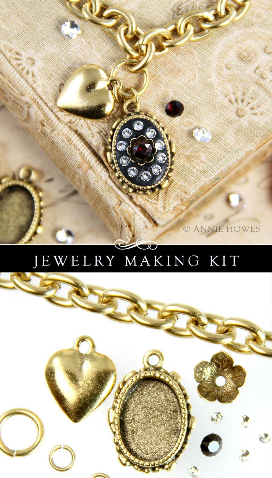 Cocktail bracelet kit with swarovski crystals jewelry making kits