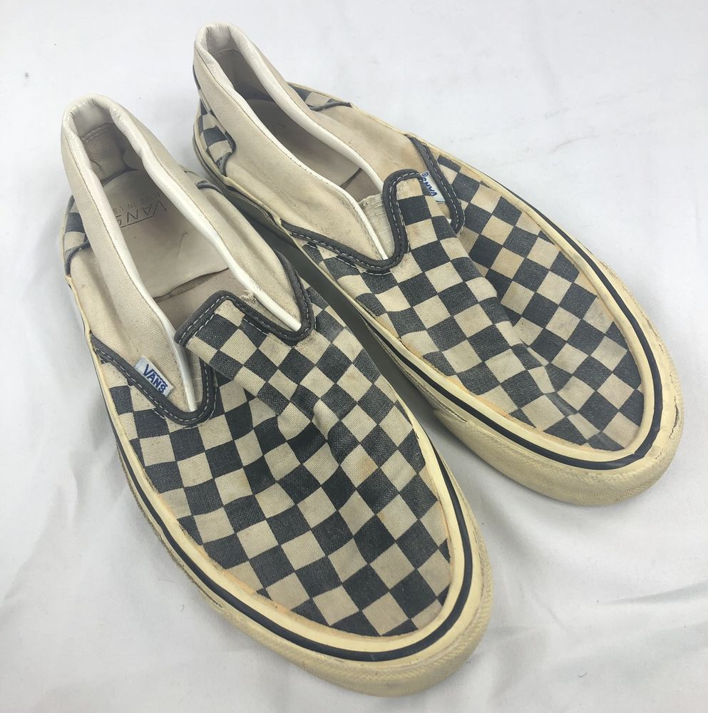 8118c2b12b VANS Style 98 Check Checkerboard Print Slip-On Sneakers Skate Shoes 80s USA  Made
