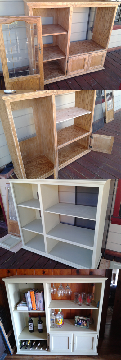 upcycled an old entertainment center into a wine cabinet. Black Bedroom Furniture Sets. Home Design Ideas